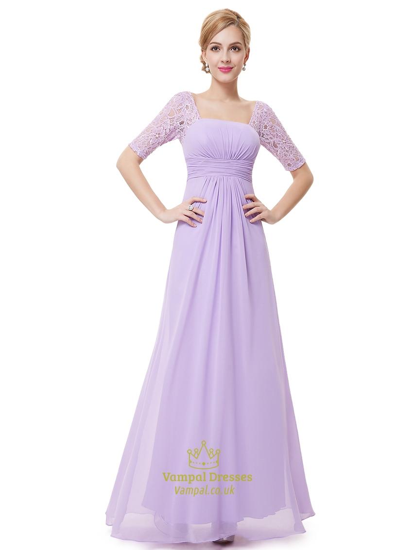 Lilac Chiffon Floor Length Bridesmaid Dress With Lace Half Sleeves ...