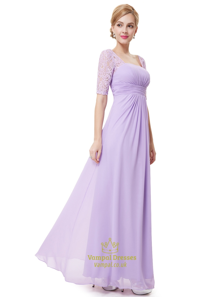 Lilac Chiffon Floor Length Bridesmaid Dress With Lace Half Sleeves ...