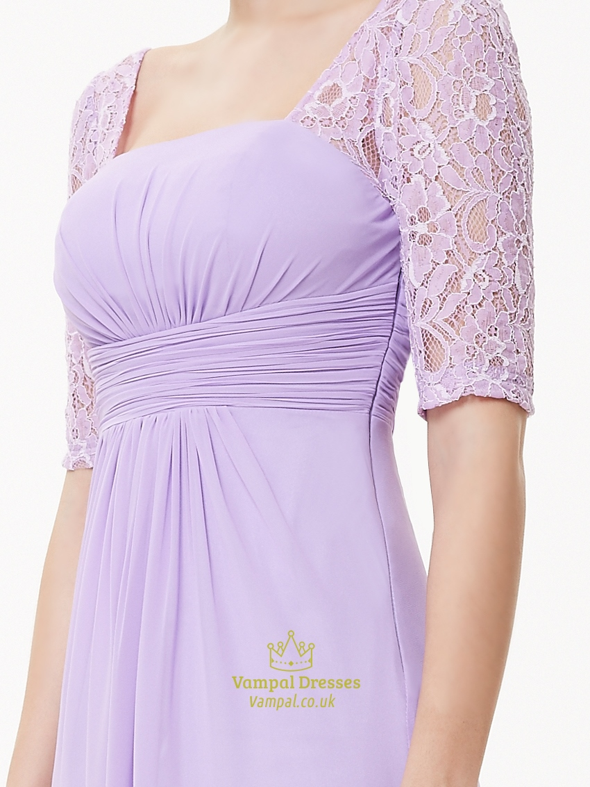 Lilac Chiffon Floor Length Bridesmaid Dress With Lace Half