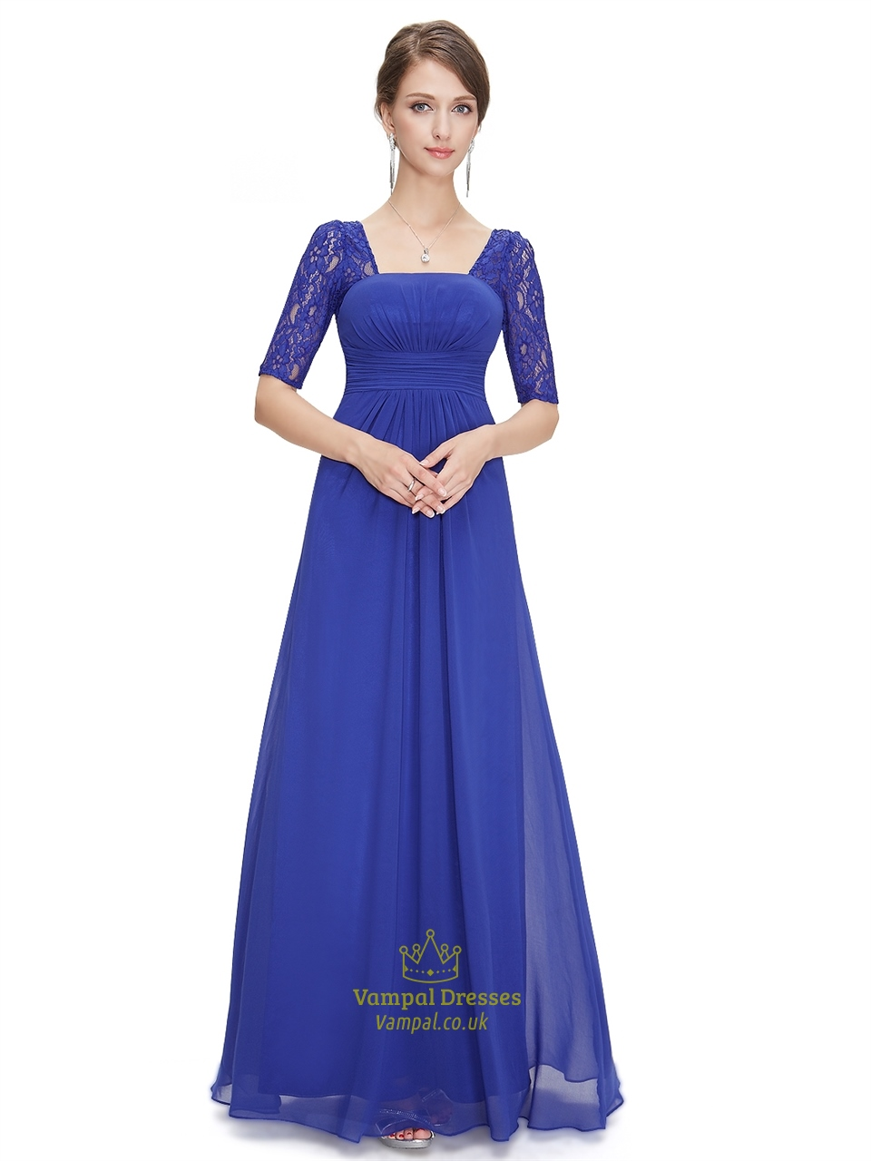 Royal Blue Chiffon Party Wedding Bridesmaid Dress With Lace Sleeves ...