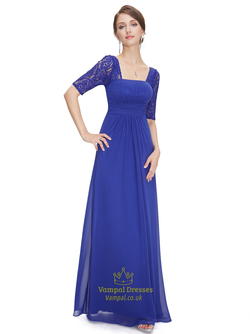 Royal blue chiffon party wedding bridesmaid dress with for Dresses for wedding party