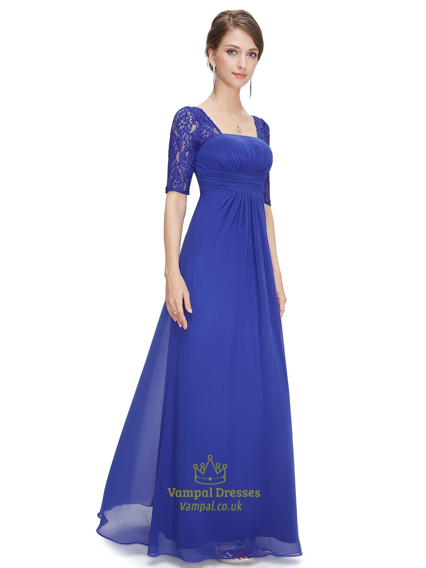 Royal blue wedding dresses with sleeves for Blue wedding dress with sleeves