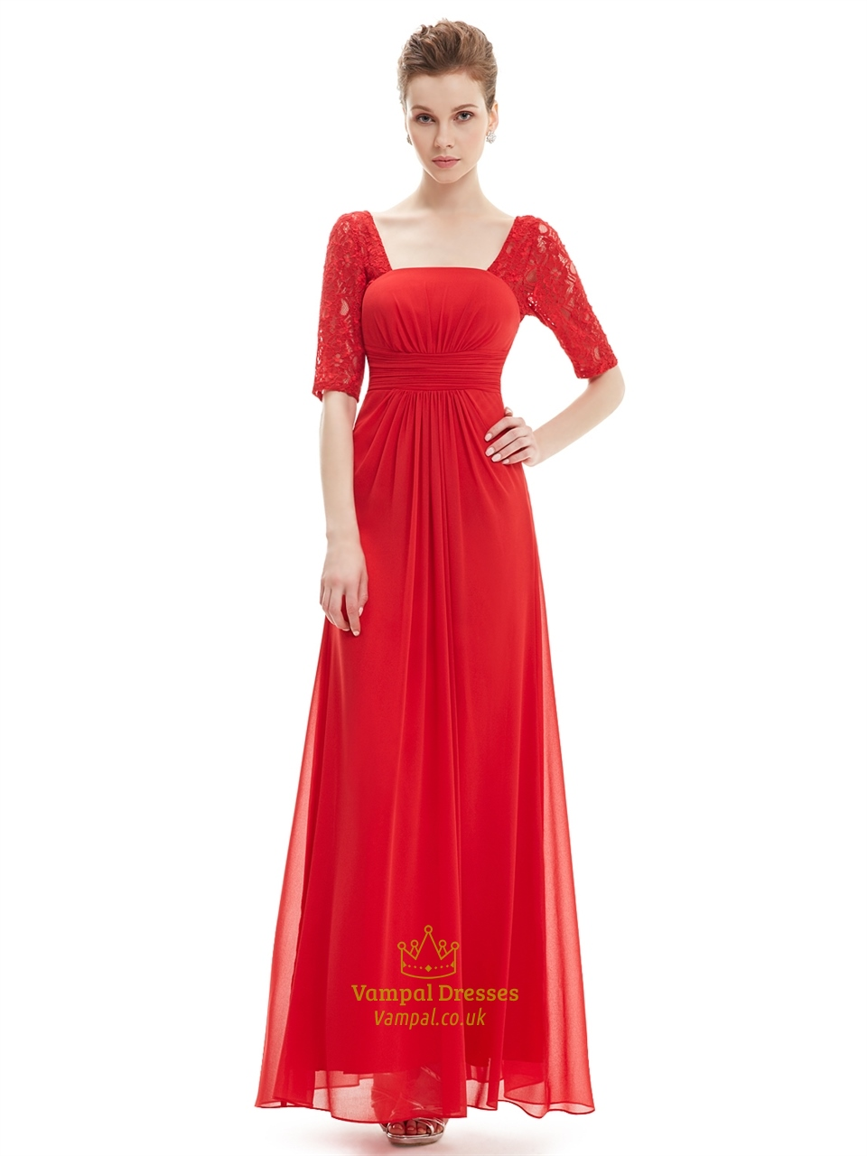 Long bridesmaid dress with lace sleeves vampal dresses red chiffon party wedding bridesmaid dress with lace sleeves ombrellifo Gallery