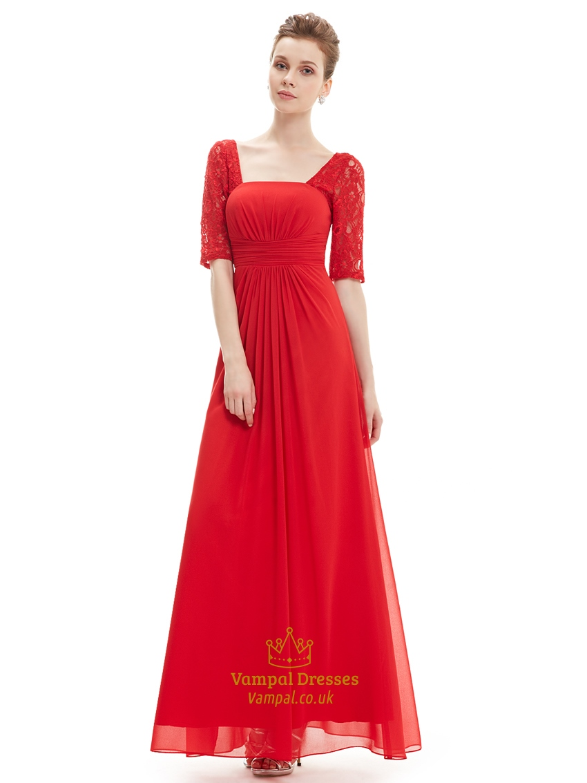 Red chiffon party wedding bridesmaid dress with lace for Red wedding dresses with sleeves