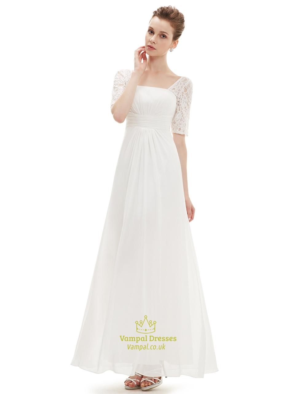 Ivory lace half sleeve chiffon bridesmaid dress for beach wedding ivory lace half sleeve chiffon bridesmaid dress for beach wedding ombrellifo Choice Image