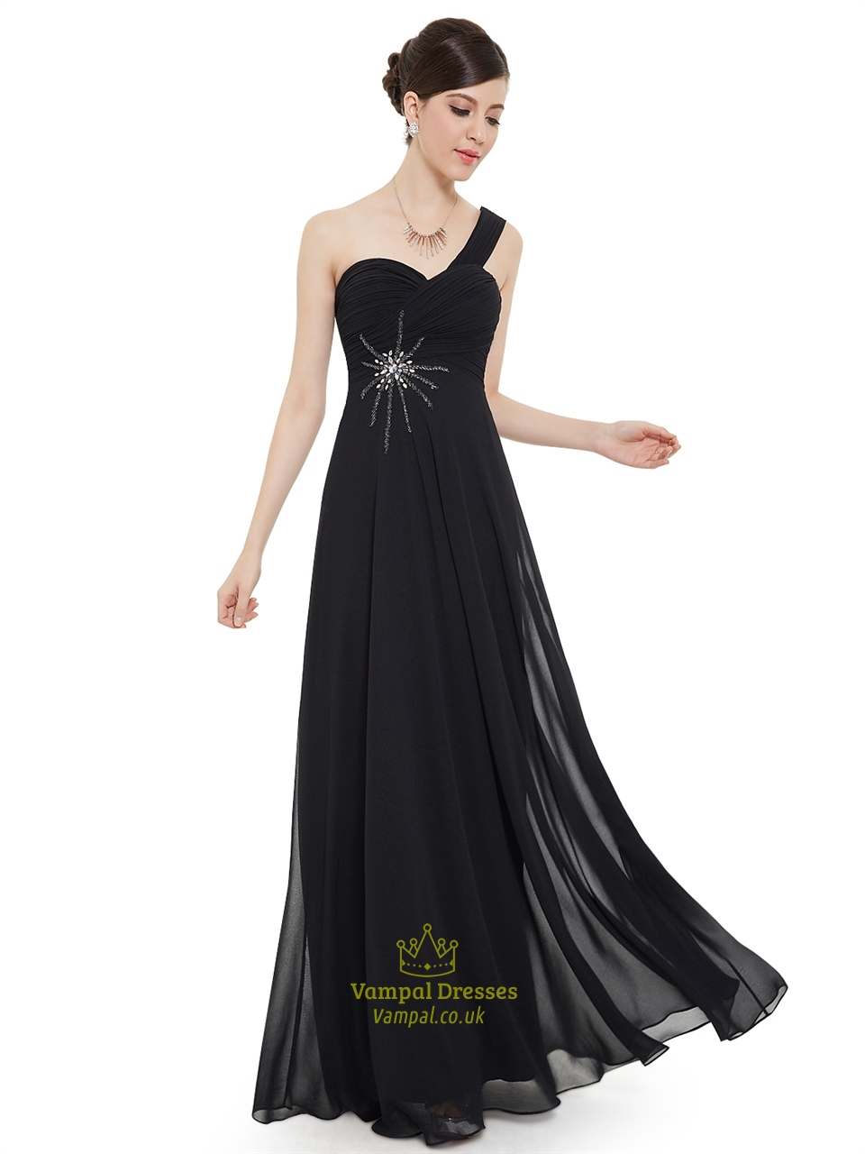 Black Chiffon One Shoulder Long Bridesmaid Dress With
