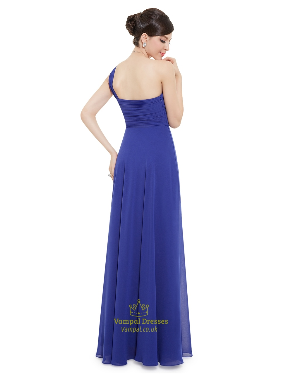 Blue royal bridesmaid dresses chiffon