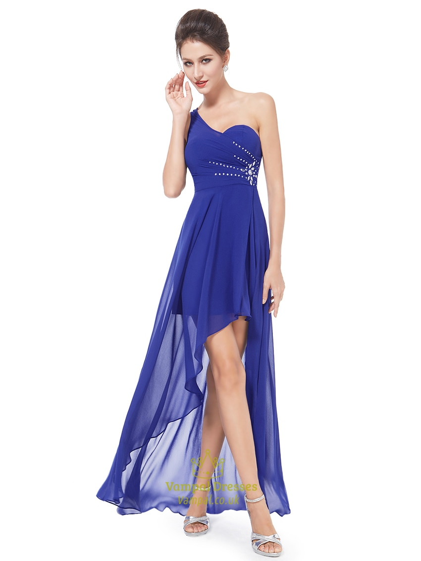 Royal blue one shoulder high low bridesmaid dress with for Wedding dress with blue detail
