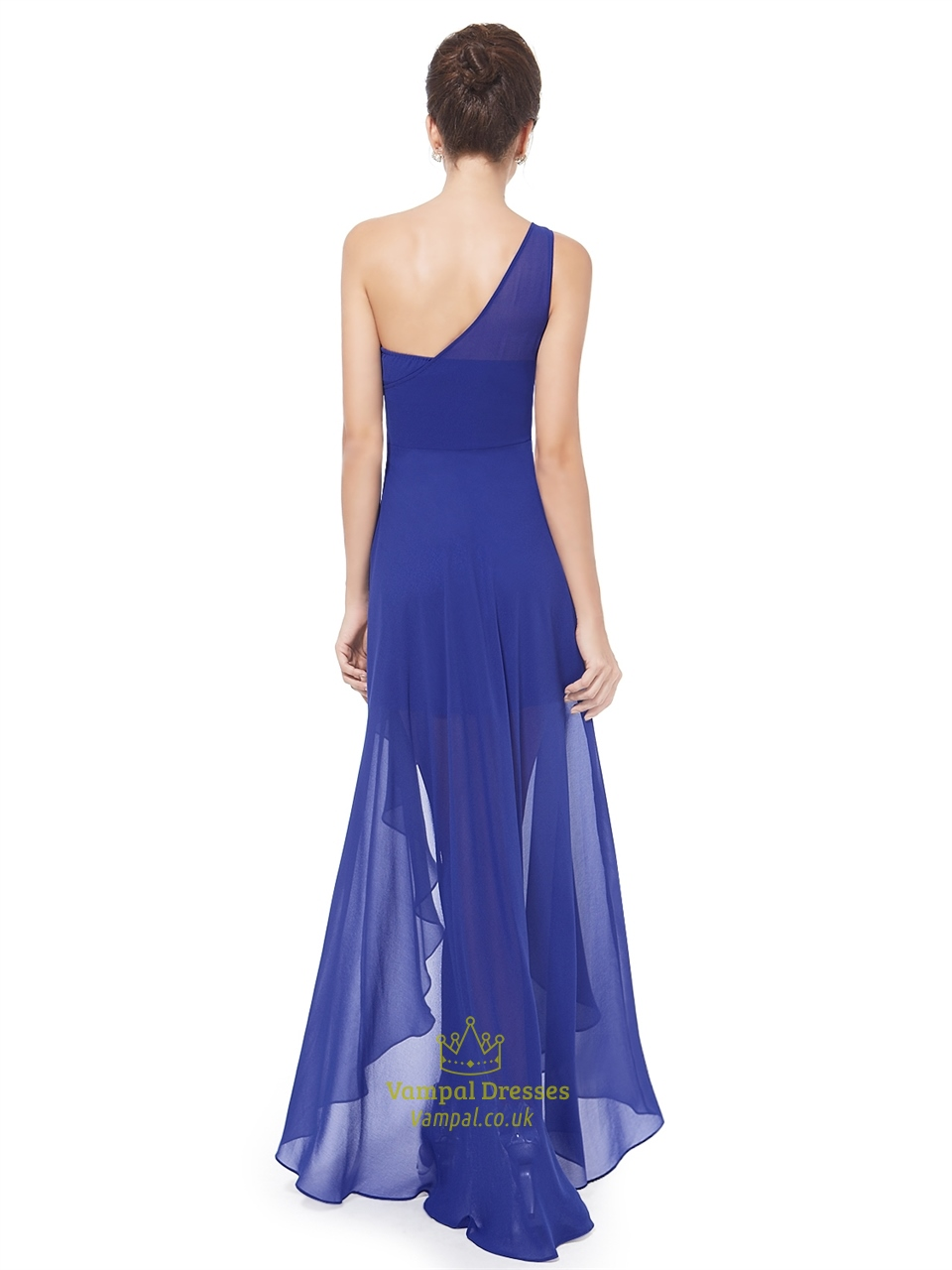 royal blue one shoulder high low bridesmaid dress with