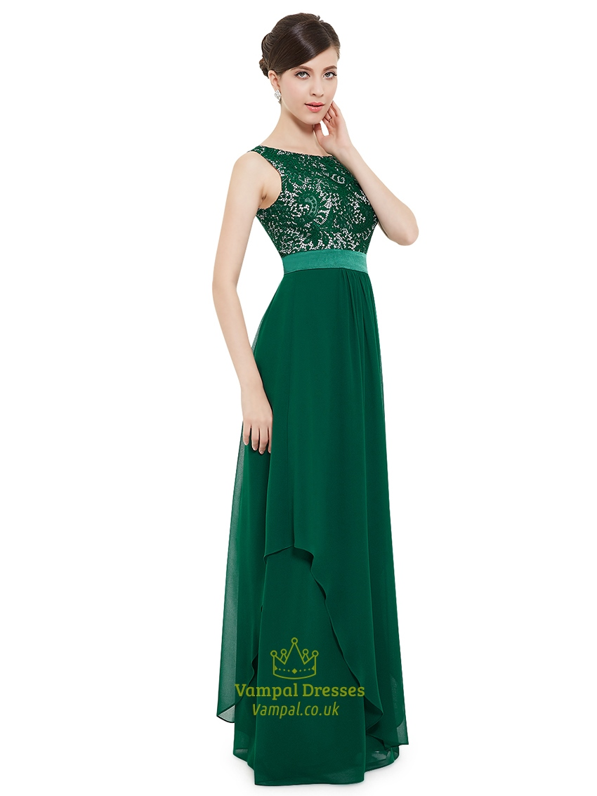 Elegant Emerald Green Chiffon Bridesmaid Dresses With Lace Bodice