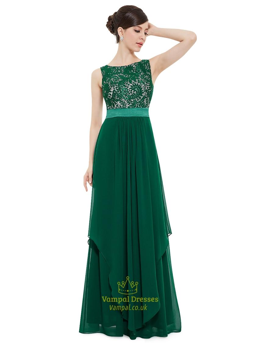 Elegant Emerald Green Chiffon Bridesmaid Dresses With Lace