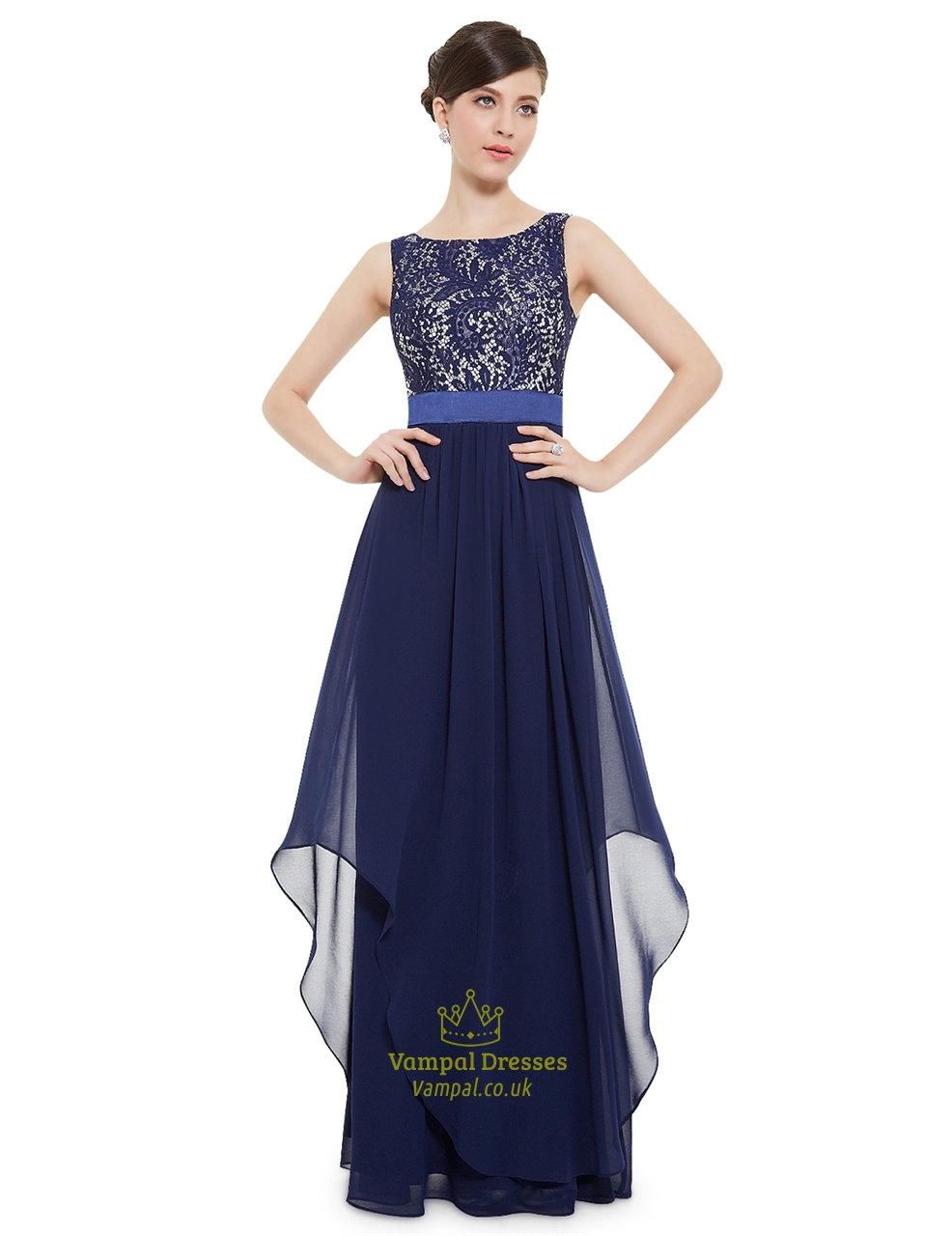 Elegant navy blue chiffon long bridesmaid dresses with for Blue long dress wedding