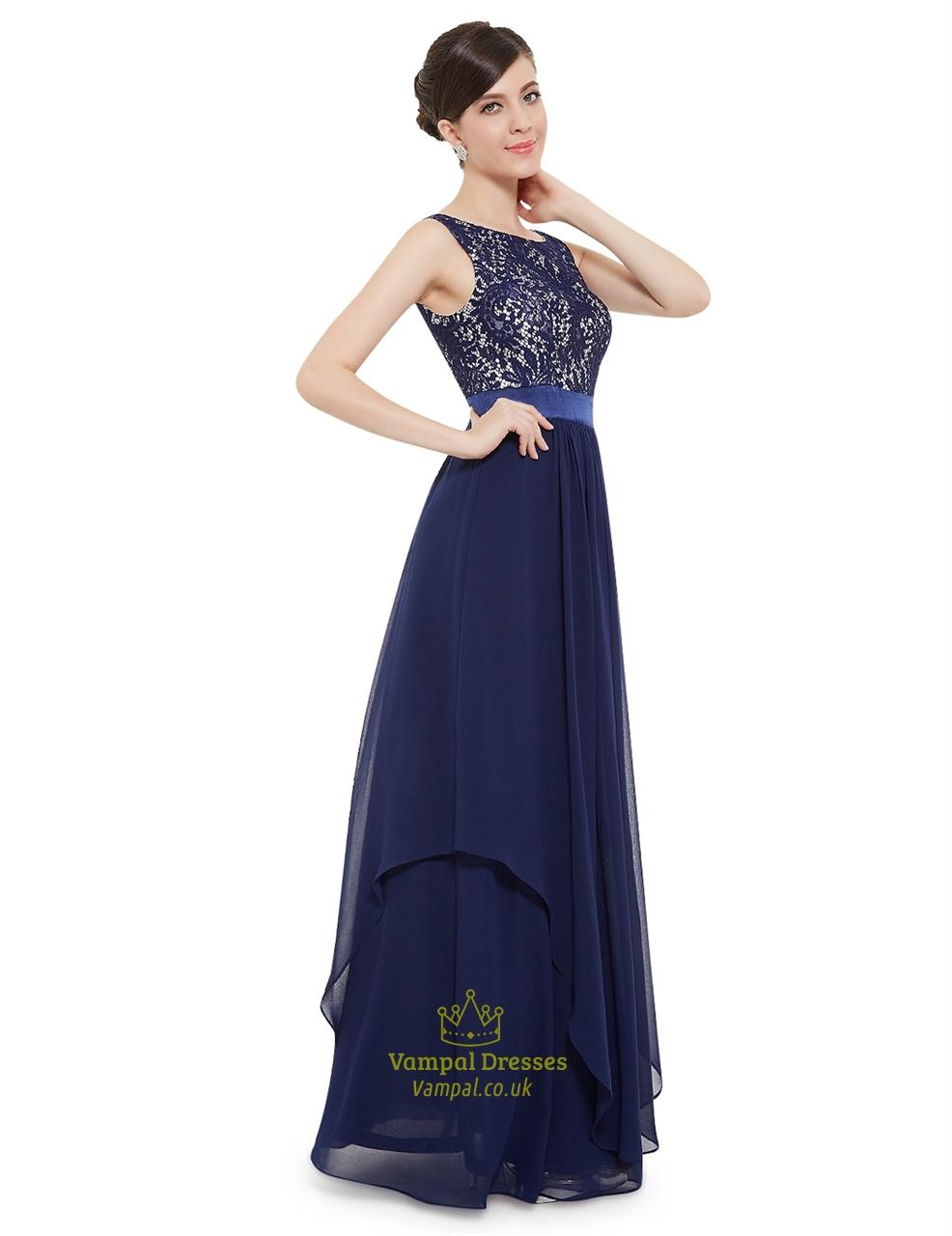 Elegant navy blue chiffon long bridesmaid dresses with lace bodice elegant navy blue chiffon long bridesmaid dresses with lace bodice ombrellifo Images