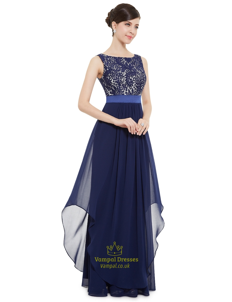 elegant navy blue chiffon long bridesmaid dresses with