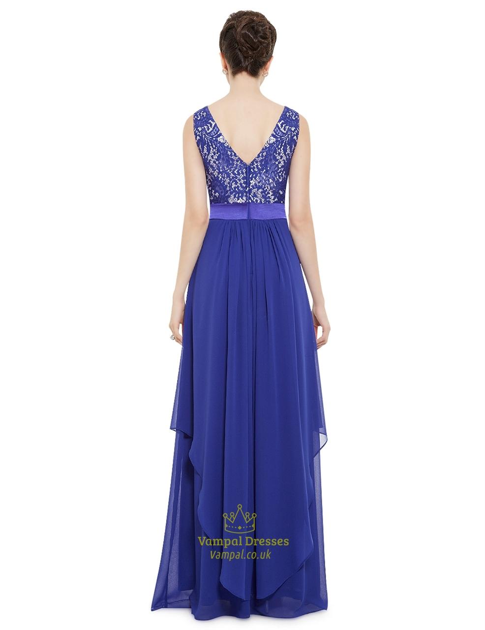 Elegant Royal Blue Chiffon Long Bridesmaid Dresses With