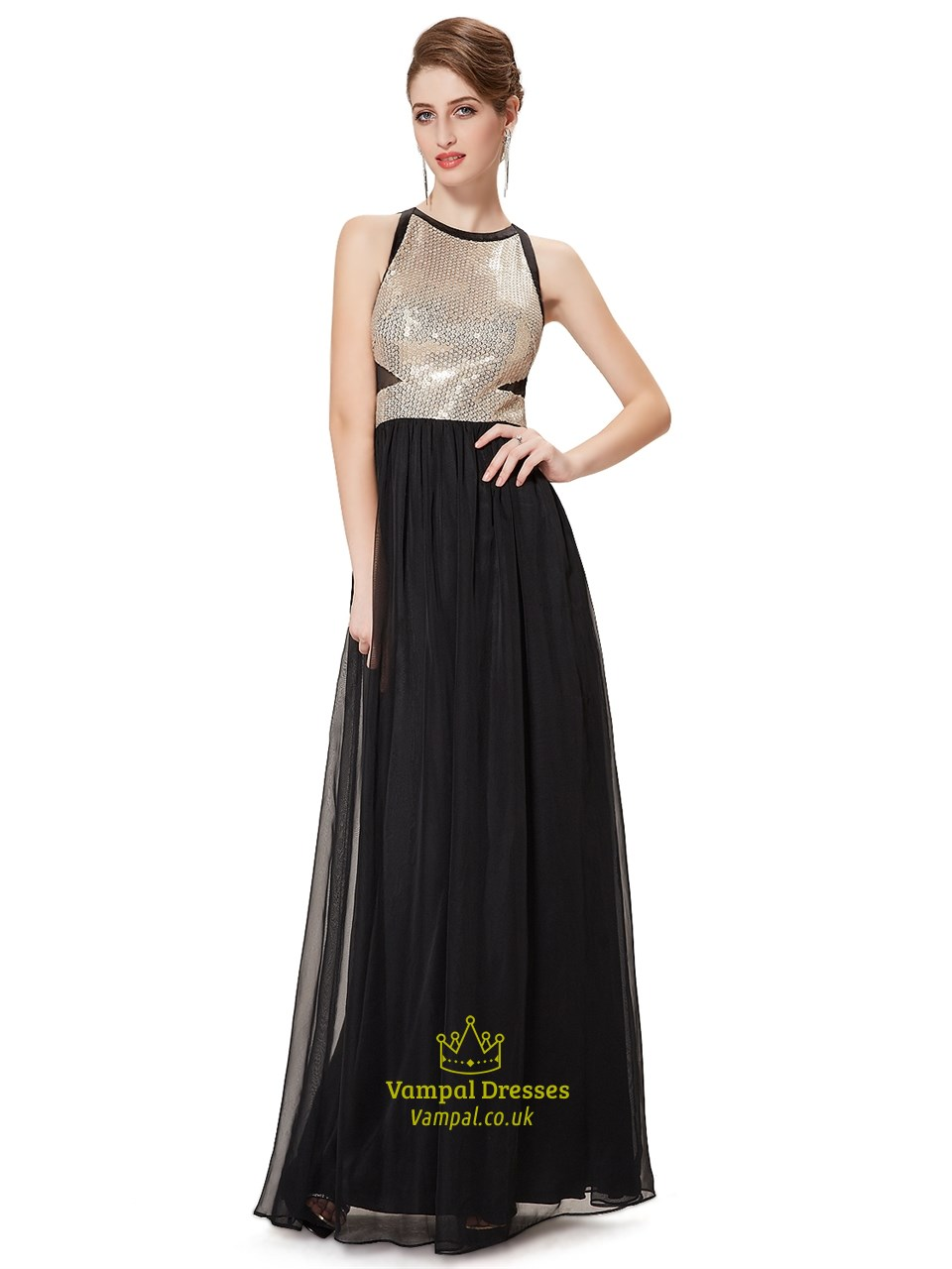 a286caf06bd3 Elegant Black Chiffon Floor Length Prom Dress With Sequin Bodice SKU -NW1473