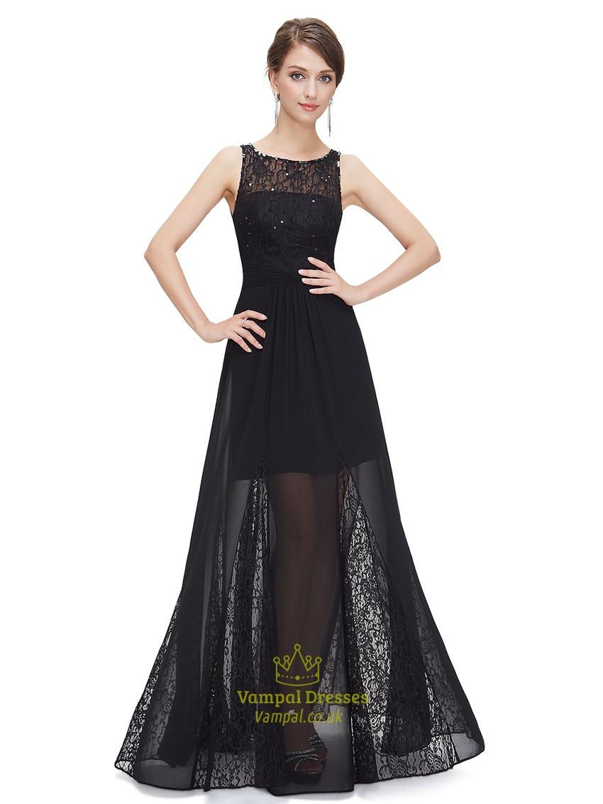 Long Lace-Bodice Chiffon Prom Dress - PromGirl