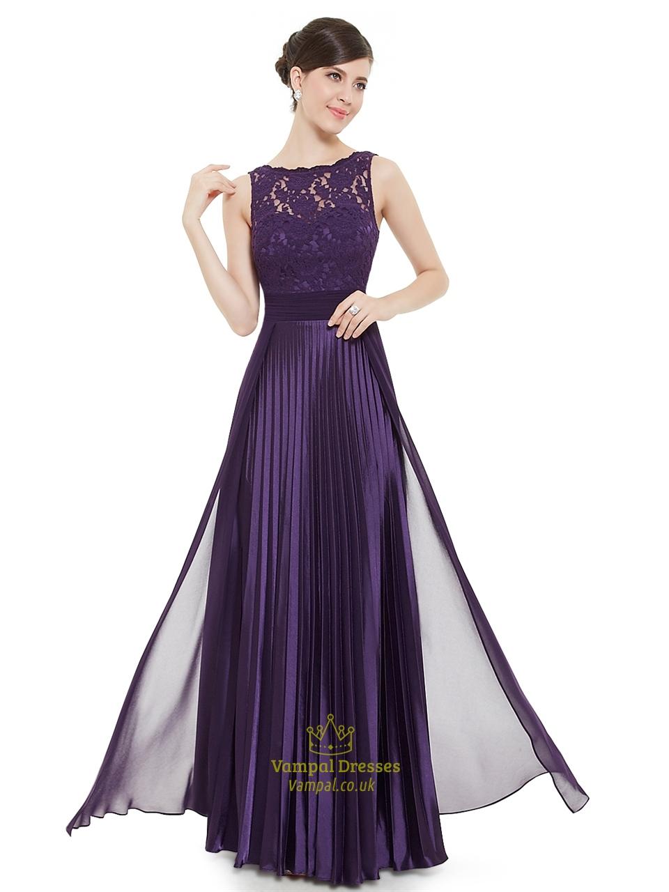 Elegant Purple Lace Illusion Neckline Chiffon Long Bridesmaid Dress ...