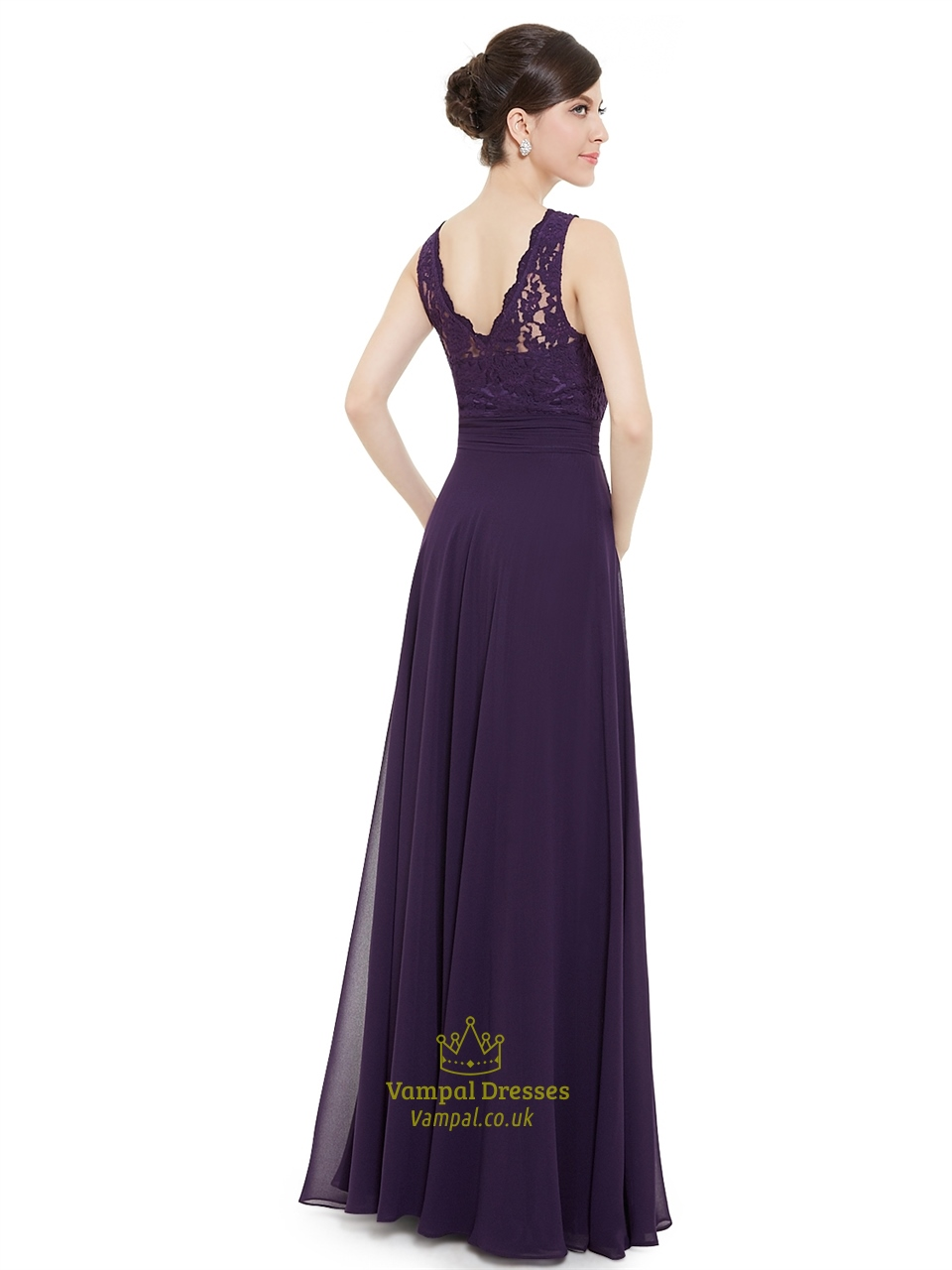 Elegant Purple Lace Illusion Neckline Chiffon Long