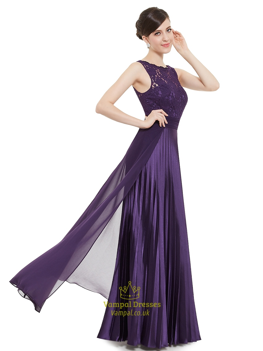 Elegant purple lace illusion neckline chiffon long for Lace illusion neckline wedding dress