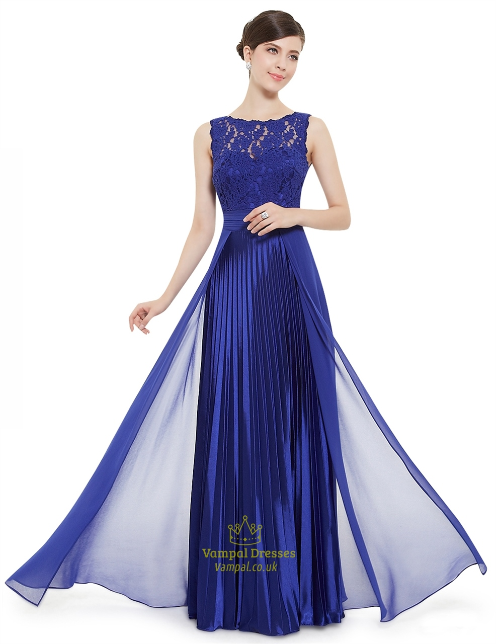 Elegant royal blue lace illusion neckline chiffon long for Blue long dress wedding