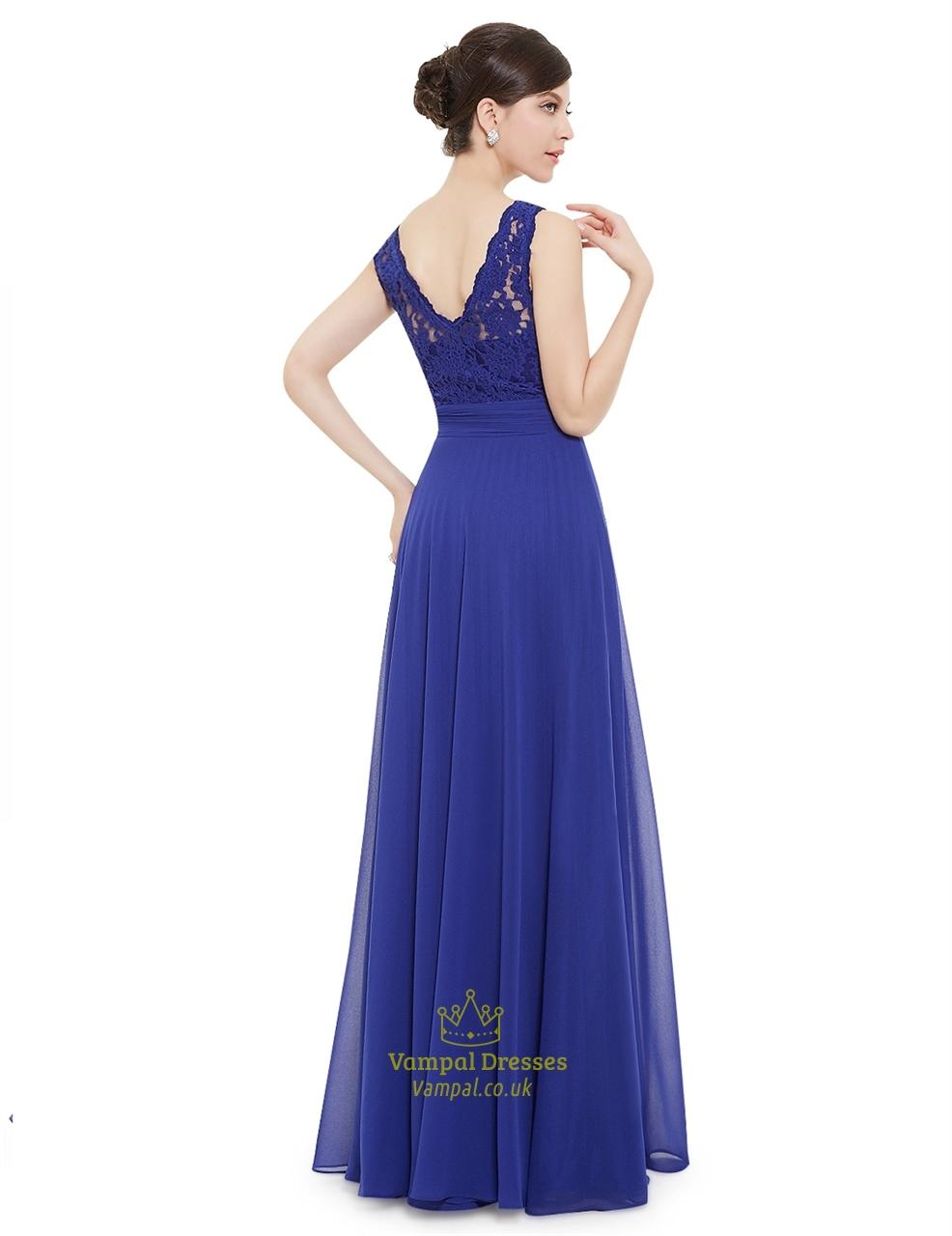 elegant royal blue lace illusion neckline chiffon long