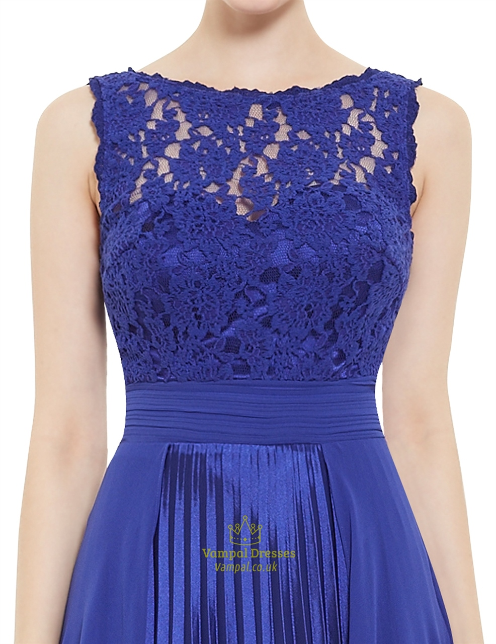 Elegant Royal Blue Lace Illusion Neckline Chiffon Long ...