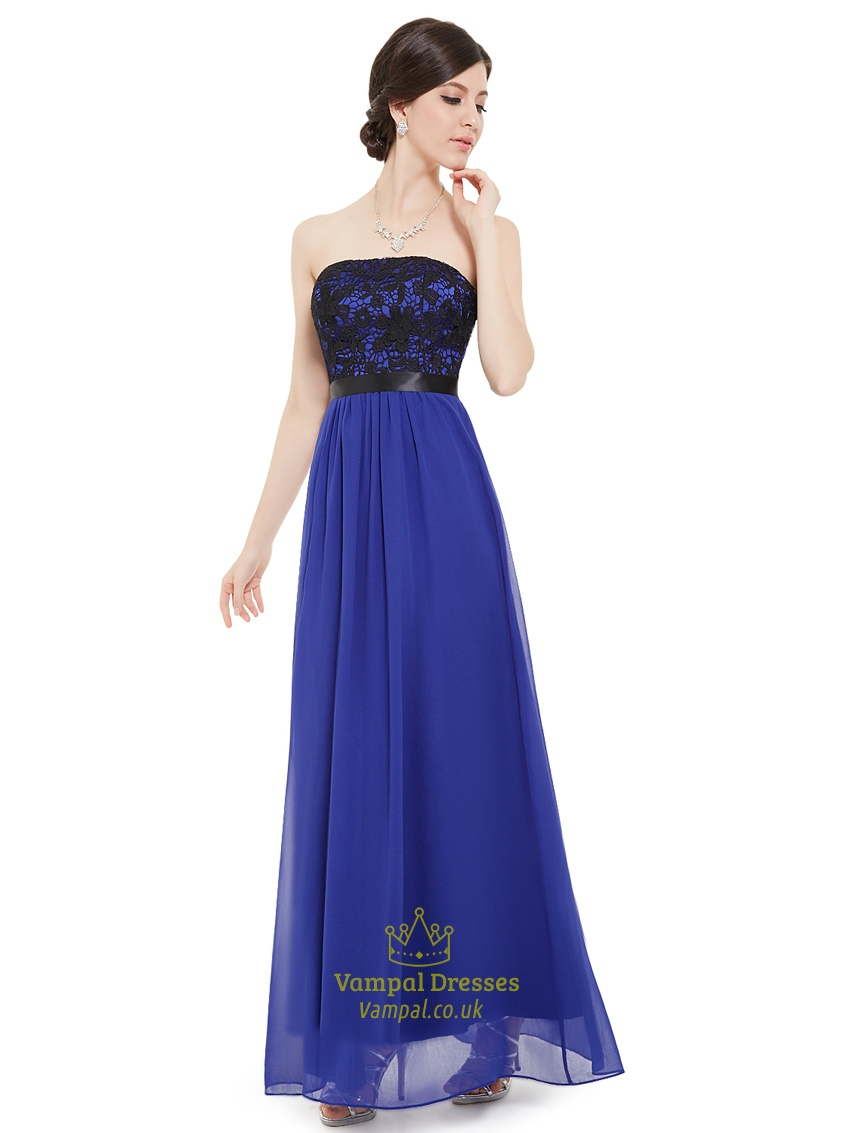 Royal blue strapless chiffon long bridesmaid dress with for Blue long dress wedding