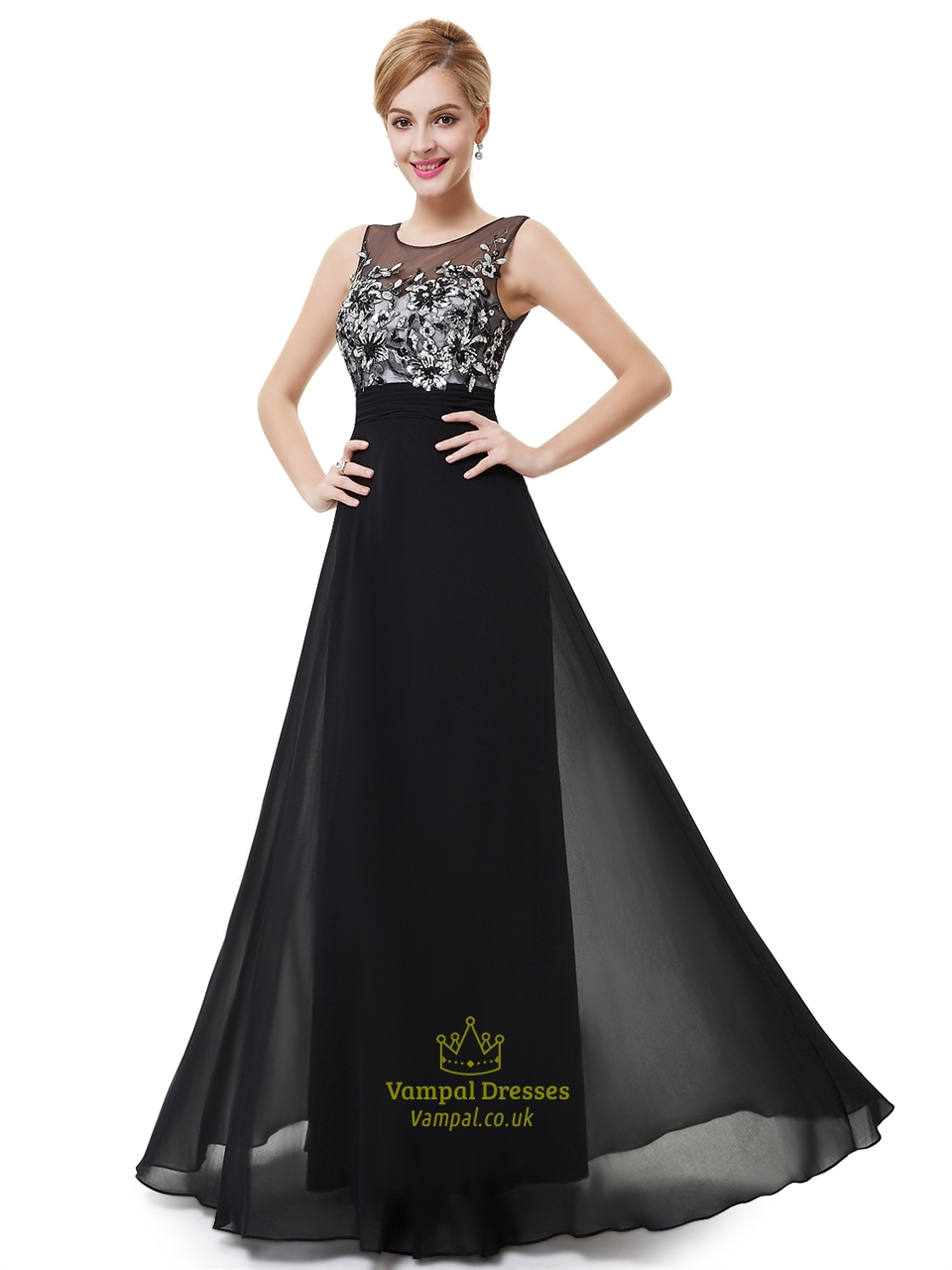 Black Chiffon Open Back Floor Length Prom Dress With Embroidered ...