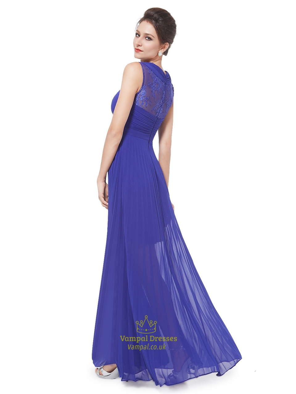 royal blue chiffon sheer skirt bridesmaid dress with lace