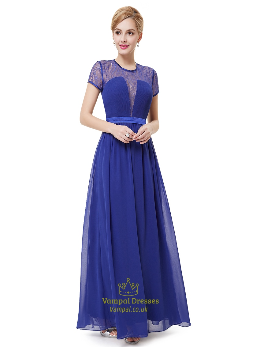 royal blue lace illusion neckline chiffon prom dress with