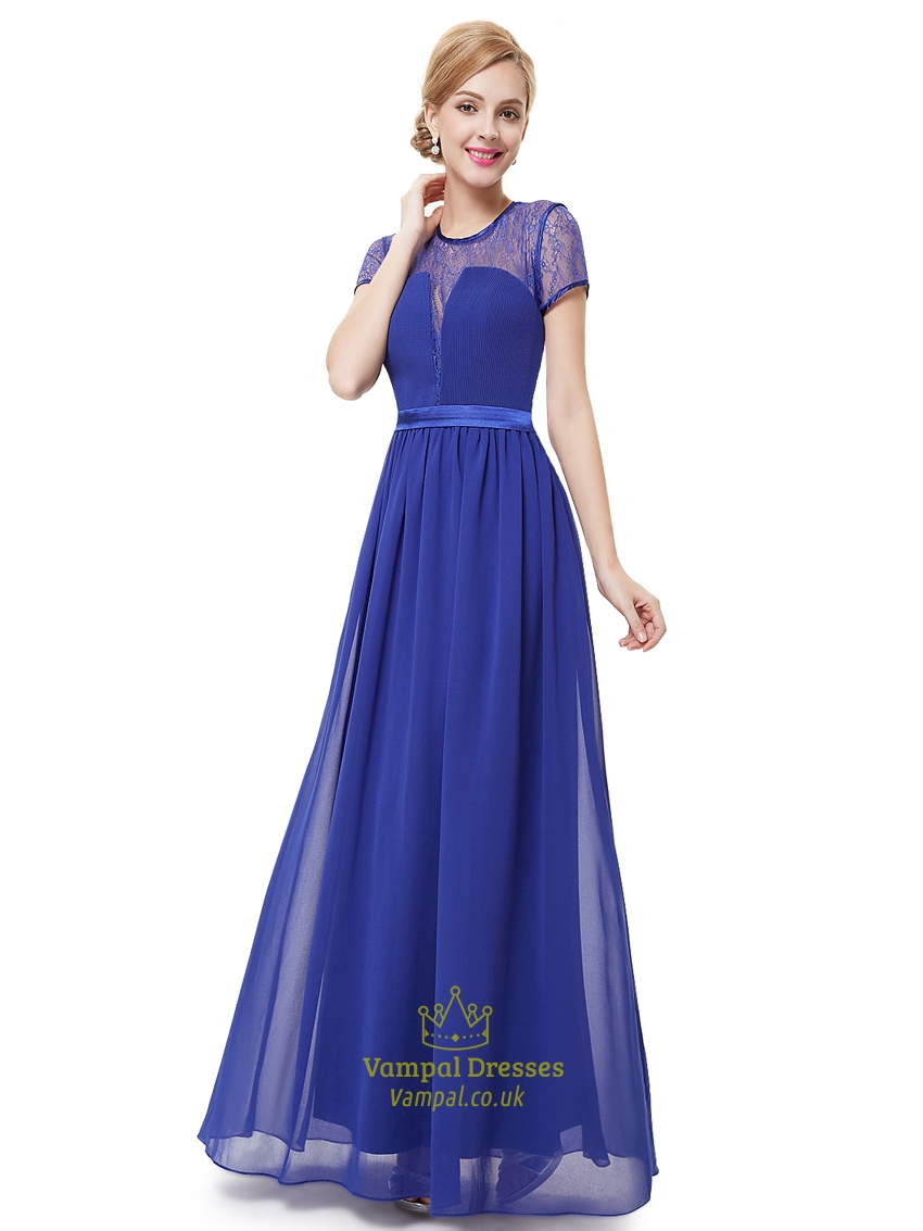 Royal Blue Lace Illusion Neckline Chiffon Prom Dress With ...
