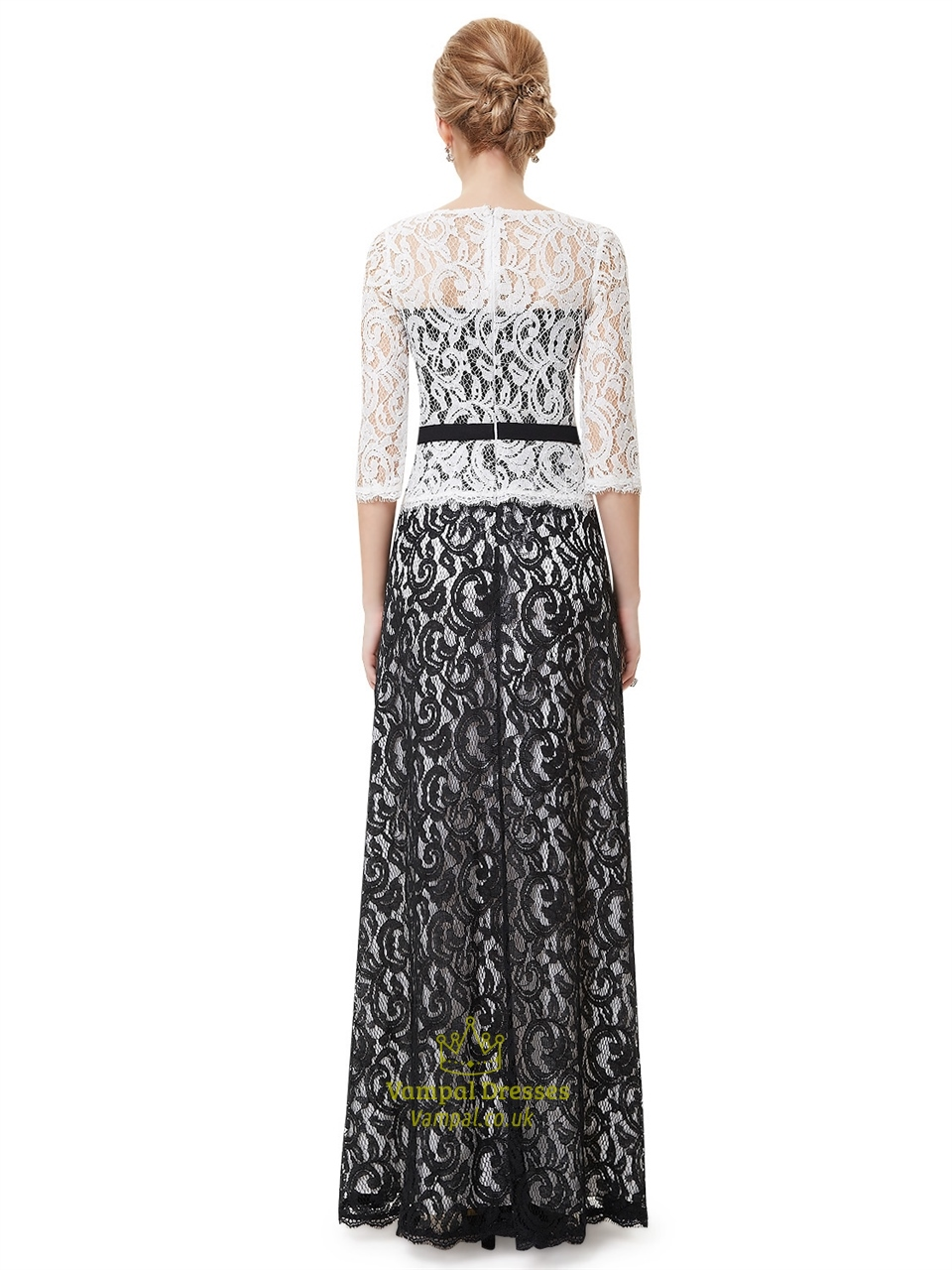 Black And White Lace Mother Of The Bride Dresses With 3/4 ...