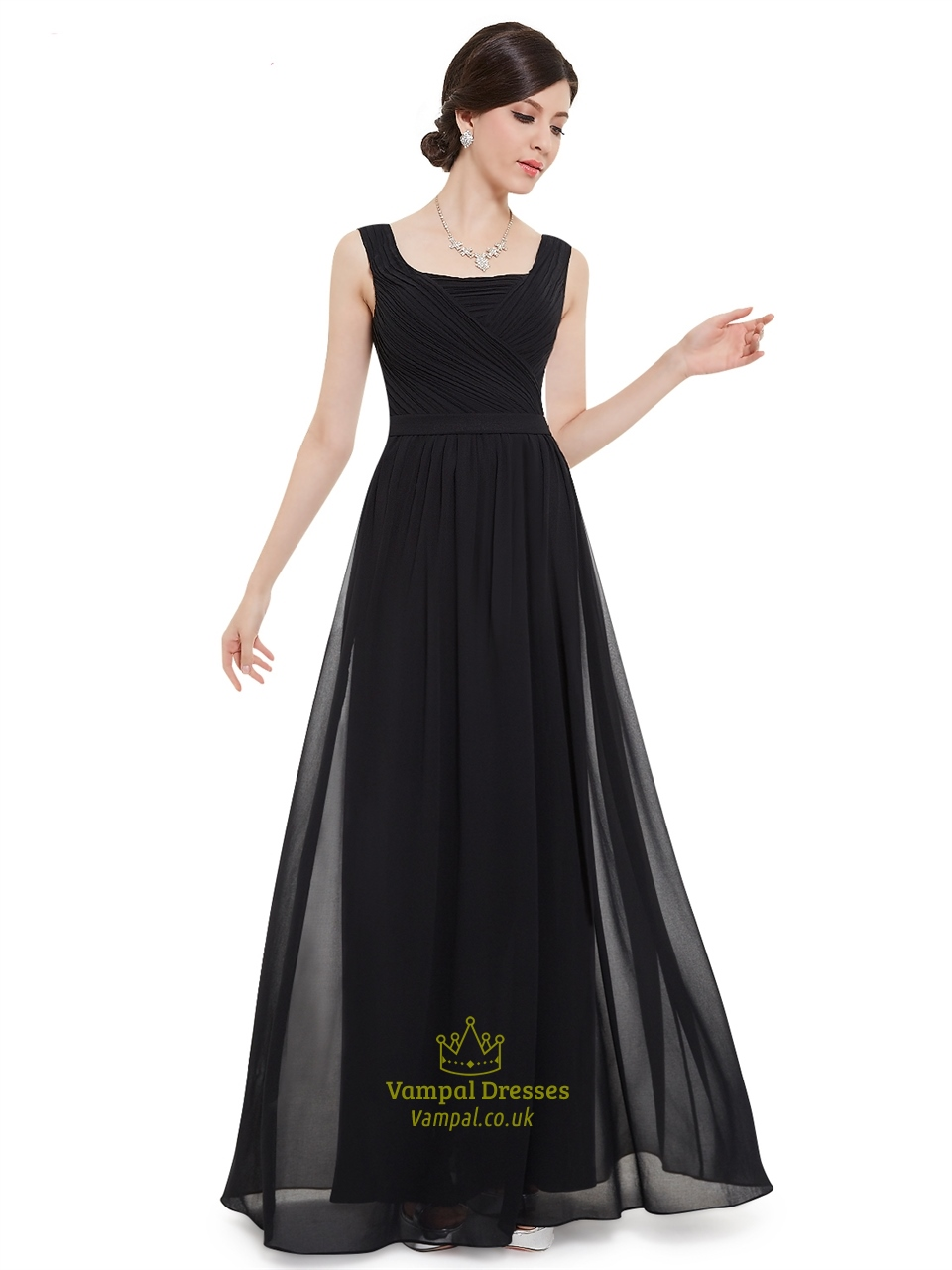 Elegant black chiffon floor length bridesmaid dress with for Floor length dresses