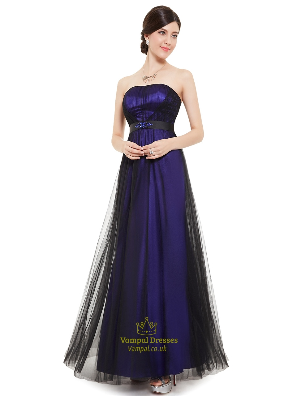 Purple And Black Strapless Tulle Bridesmaid Dresses With
