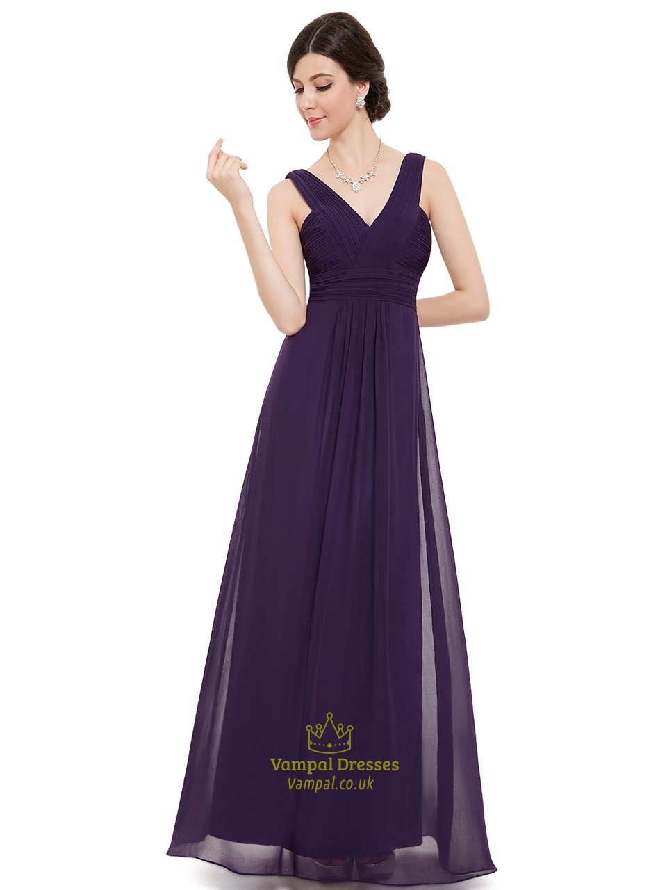 Elegant purple v neck chiffon a line floor length for Floor length dresses