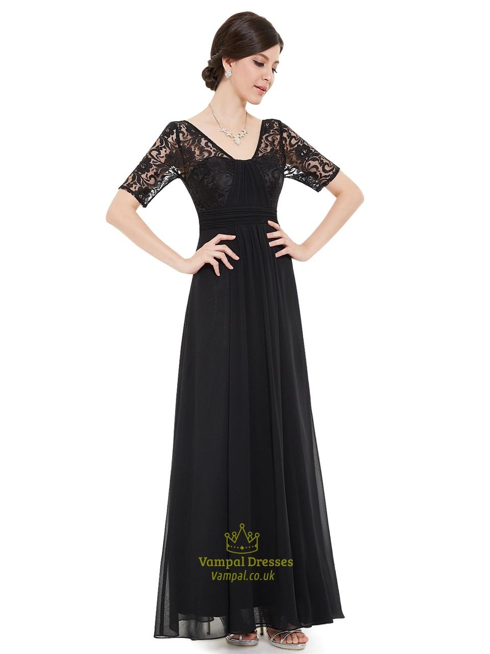 Black V Neck Lace Bodice Chiffon Bridesmaid Dresses With