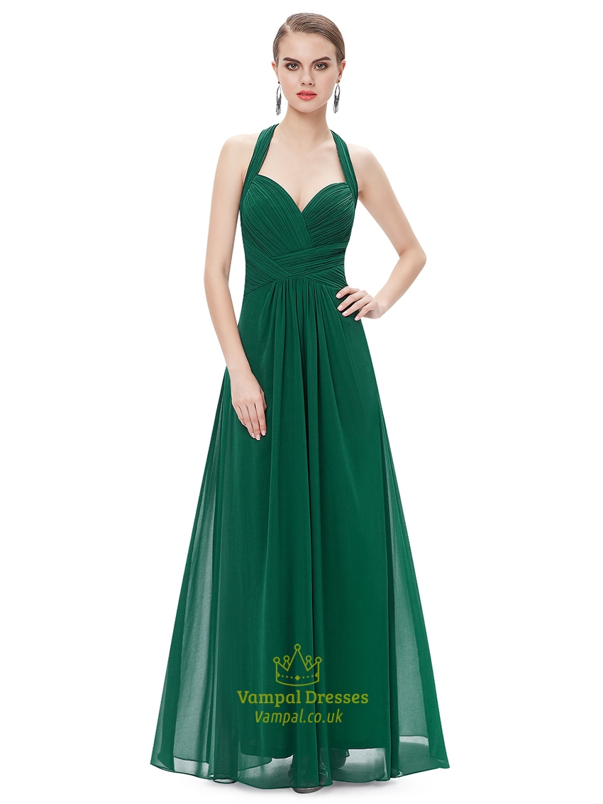 Emerald green chiffon halter neck bridesmaid dresses with for Emerald green dress for wedding