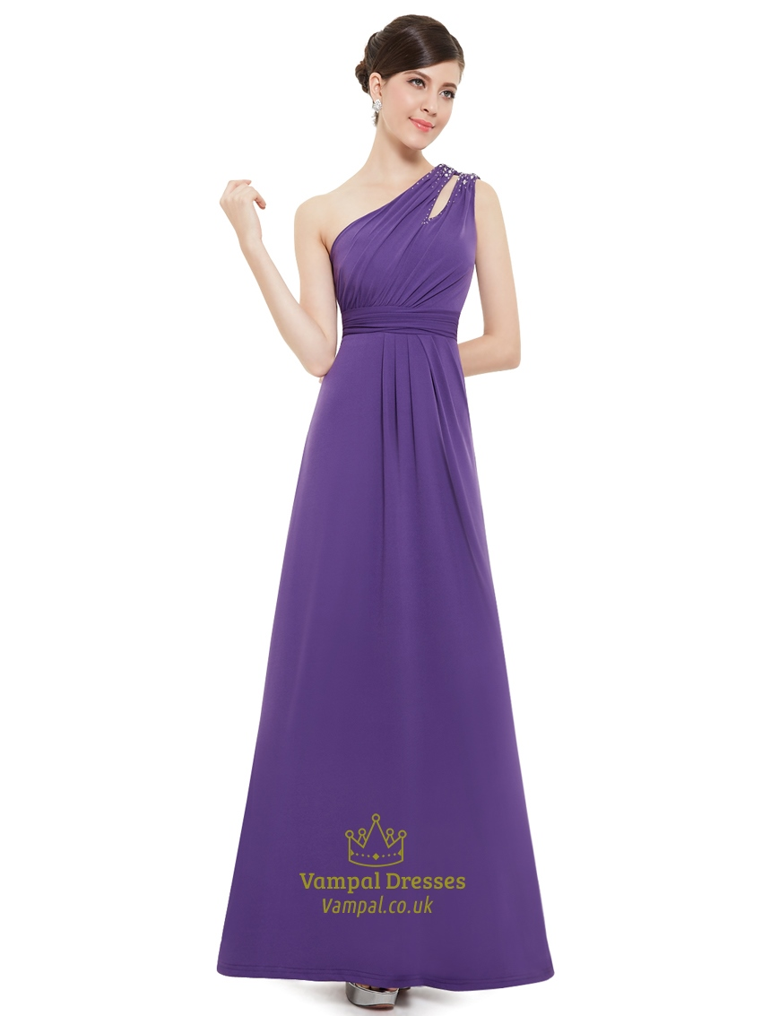 Elegant Purple One Strap Long Bridesmaid Dresses With