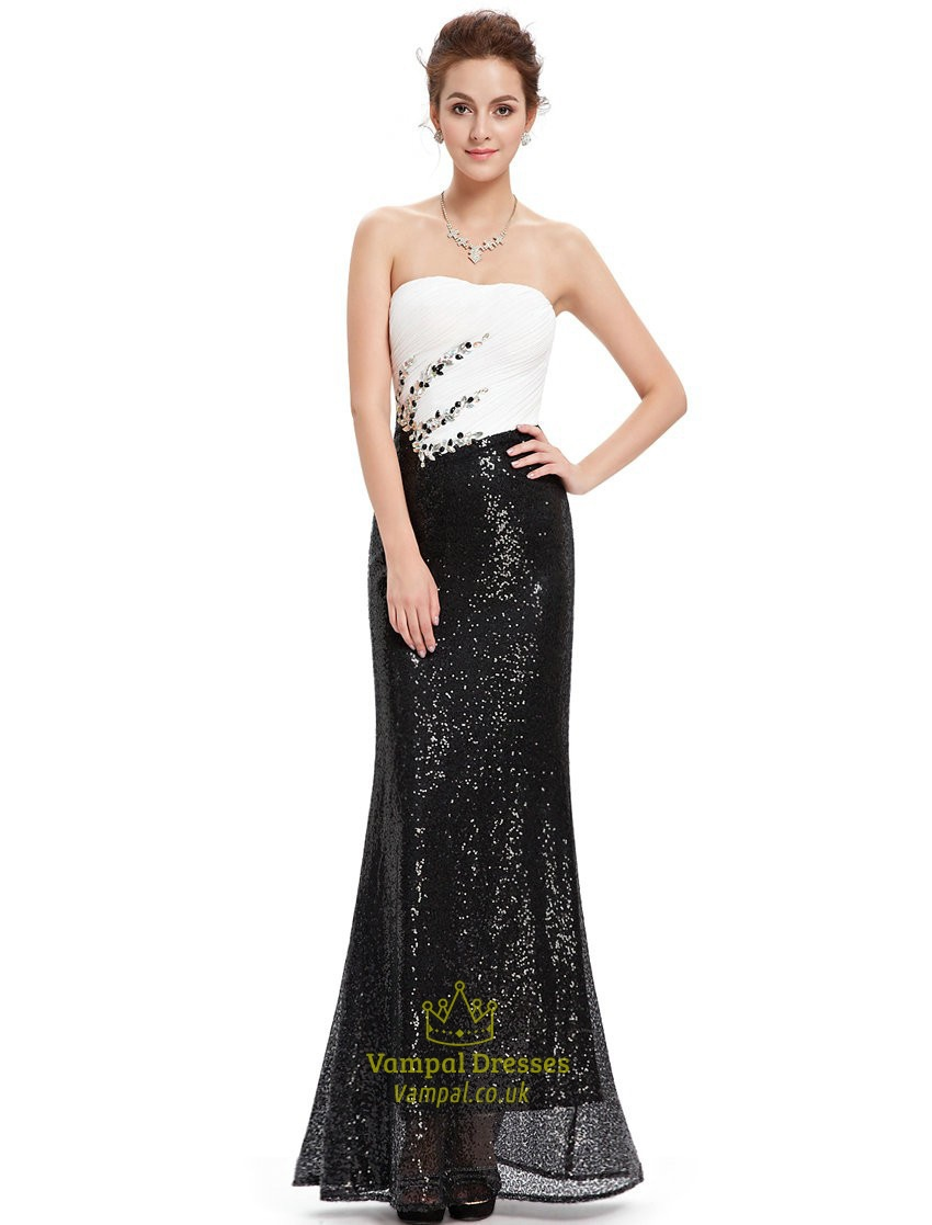 Black And White Strapless Sequin Sheath Prom Dress With And Beading ...