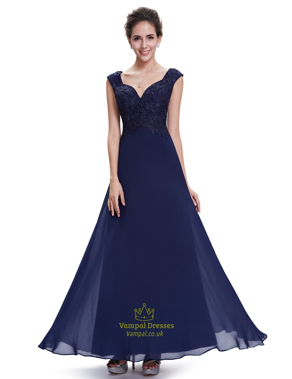 Navy blue cap sleeves chiffon long bridesmaid dresses with for Navy blue dresses for wedding