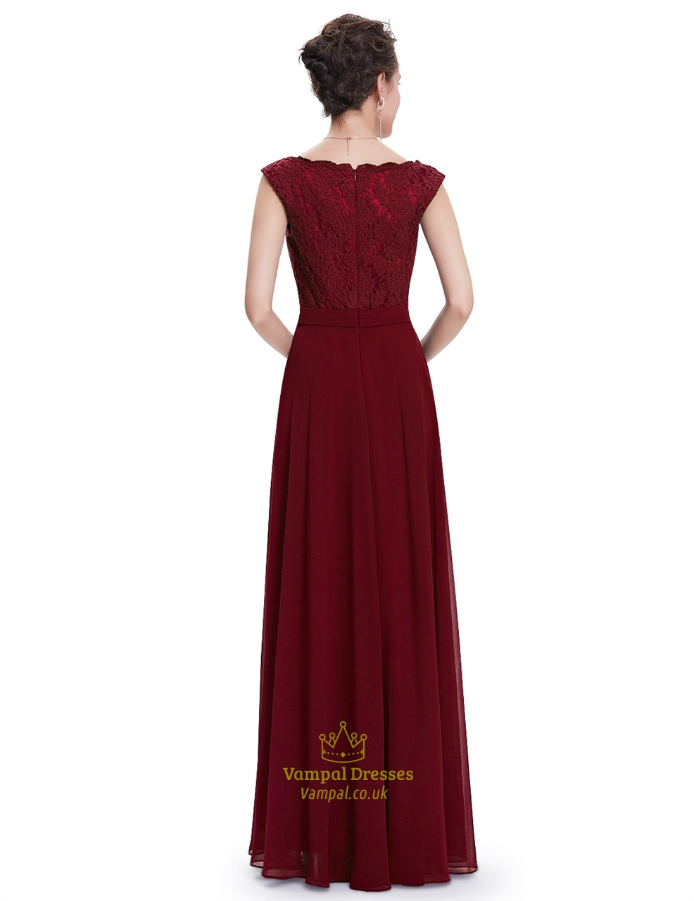 Burgundy Chiffon Cap Sleeves Long Bridesmaid Dresses With