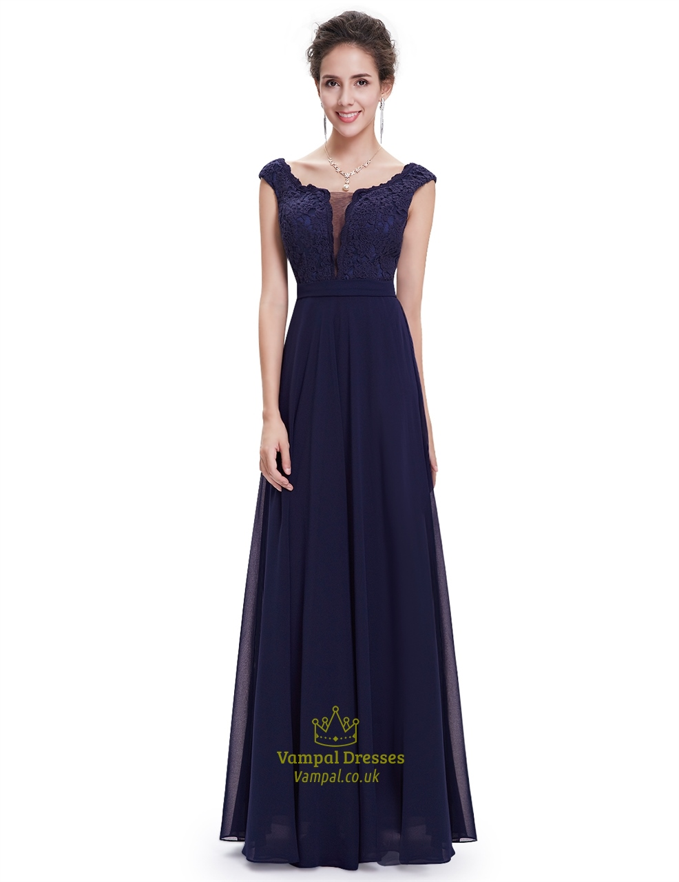 2019 year for women- Navy long blue bridesmaid dresses with sleeves