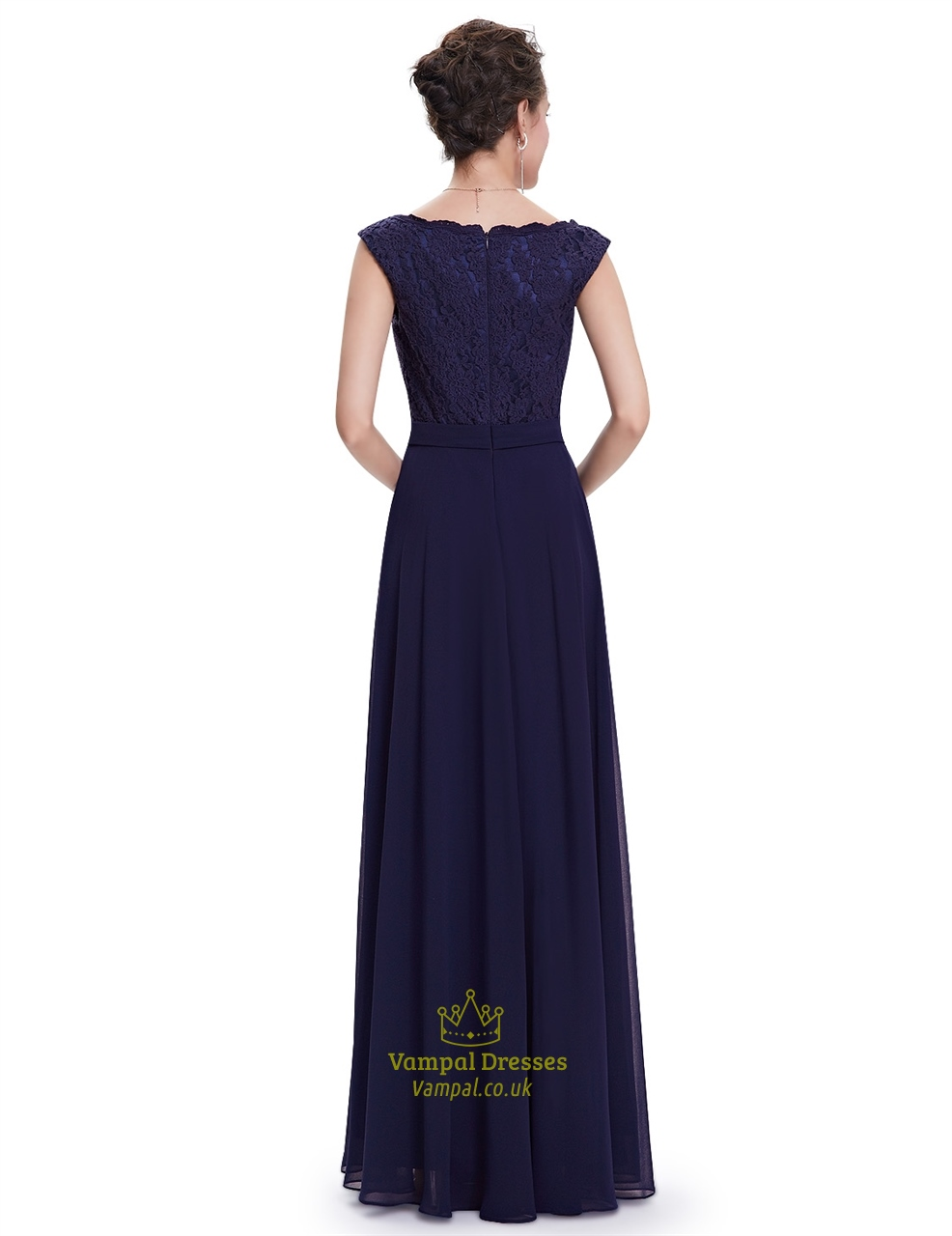Navy blue chiffon cap sleeves long bridesmaid dresses with for Navy blue dresses for wedding
