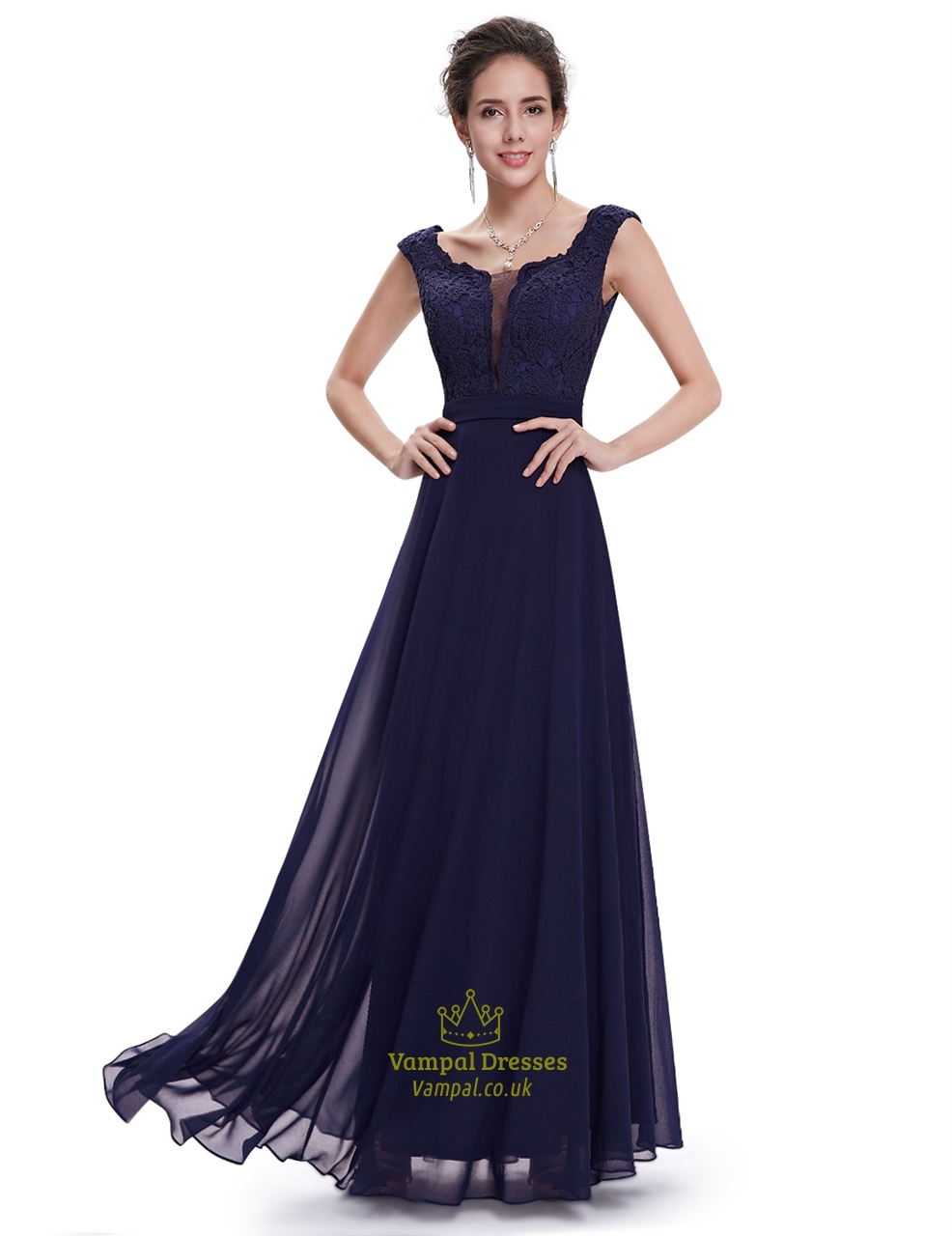 Navy Blue Bridesmaids Dresses With Sleeves : Navy blue chiffon cap sleeves long bridesmaid dresses with lace bodice