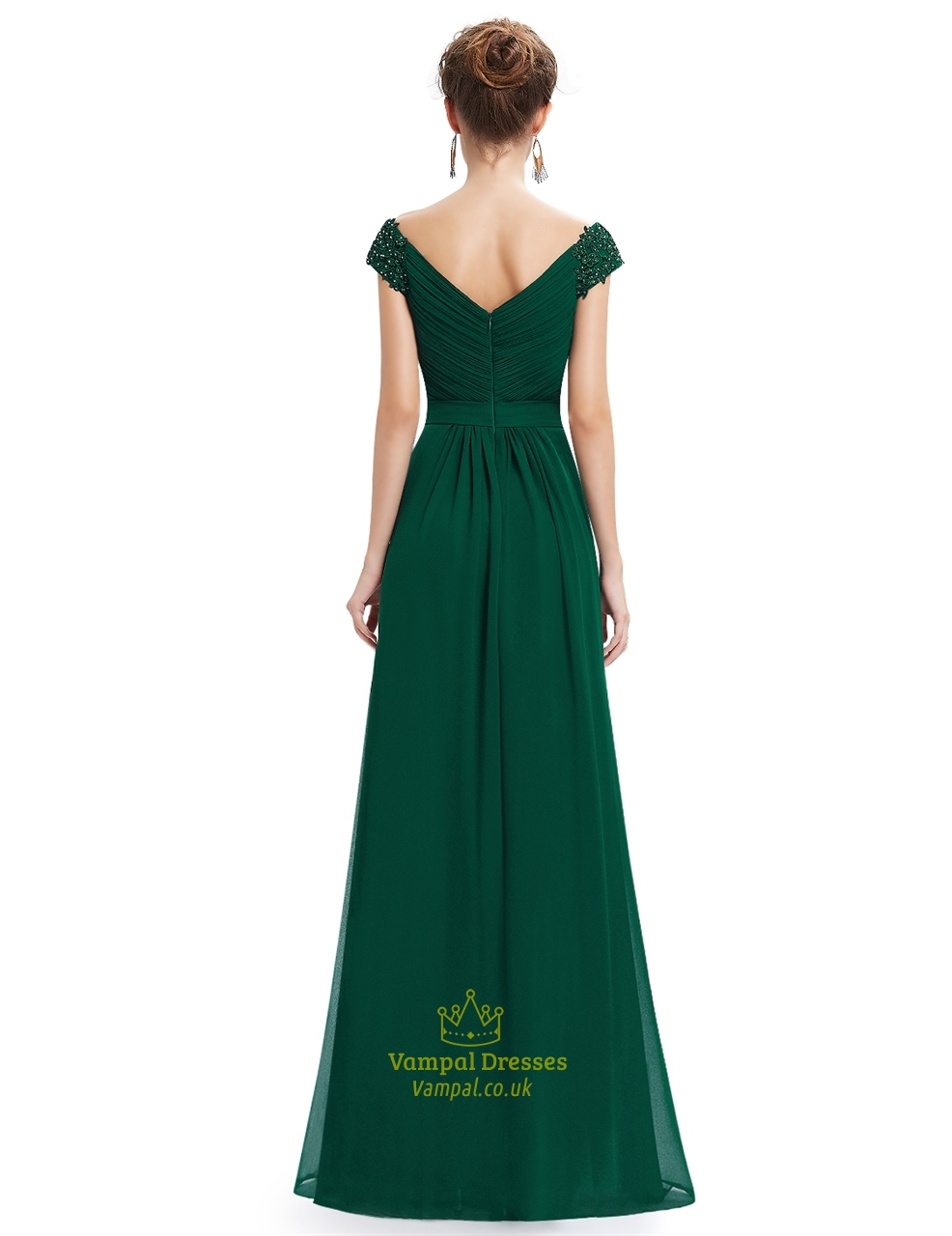 Emerald Green V Neck Bridesmaid Dresses With Beaded Lace Applique Vampal Dr