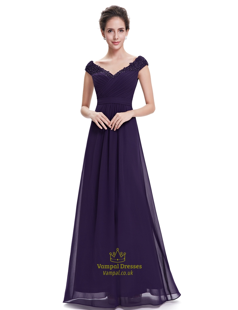 Purple v neck bridesmaid dresses with beaded lace applique for Purple lace wedding dress