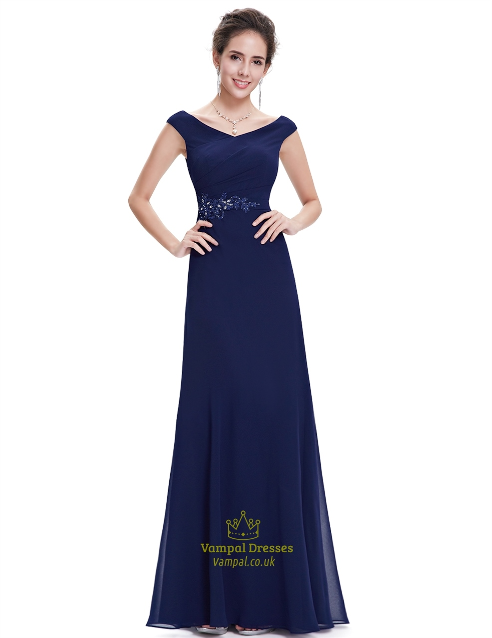 Navy blue chiffon long bridesmaid dresses with beaded lace for Long blue dress for wedding