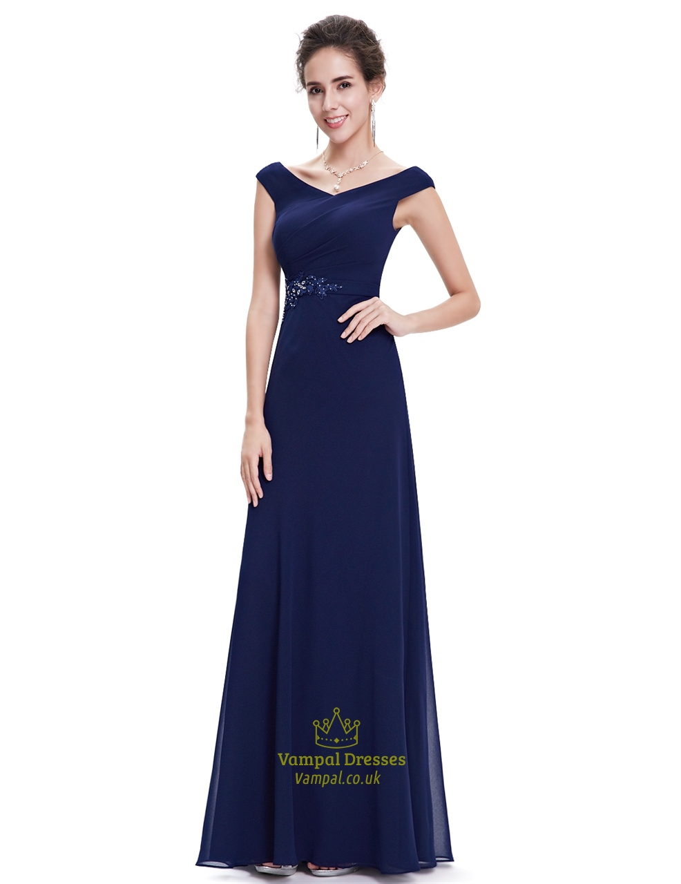 Navy blue chiffon long bridesmaid dresses with beaded lace for Navy blue dresses for wedding