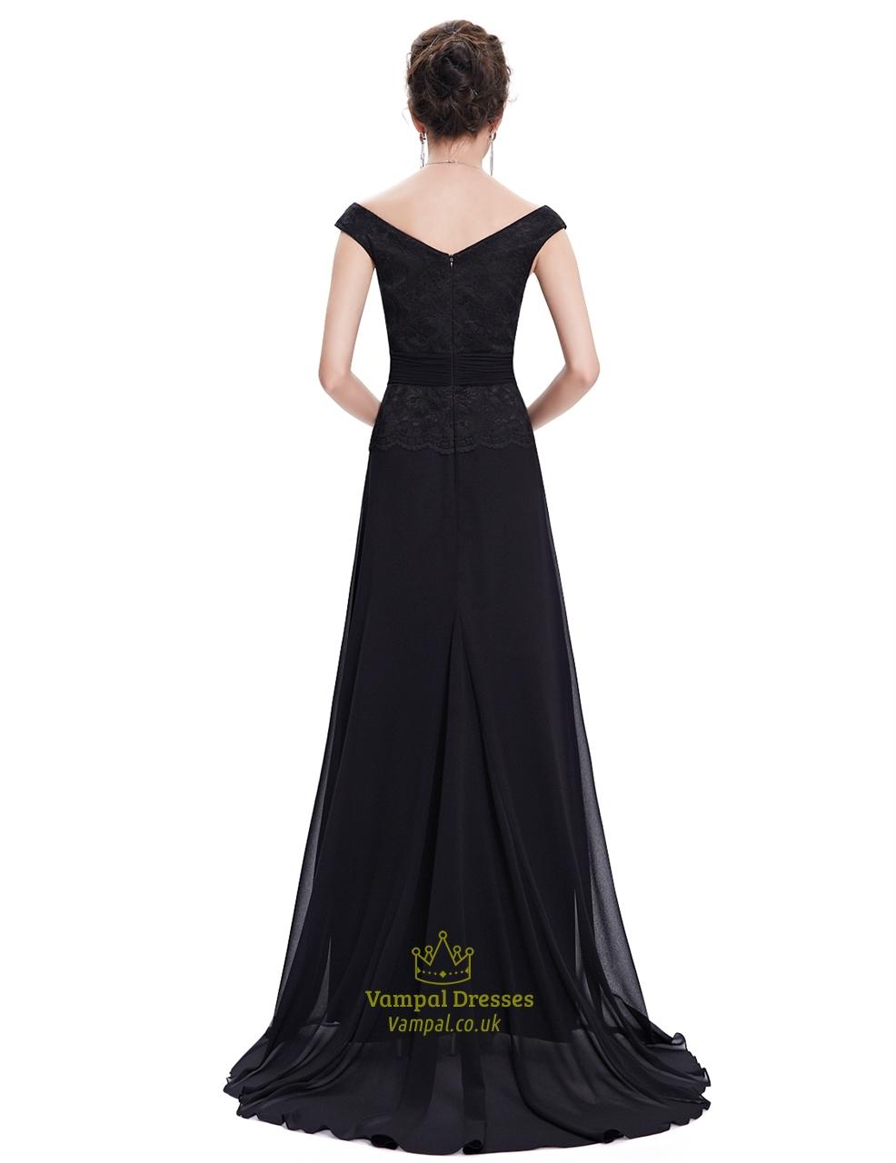Black Long Lace Bridesmaid Dresses